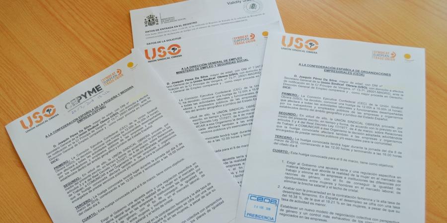 USO registra la convocatoria de huelga para el 8 de marzo