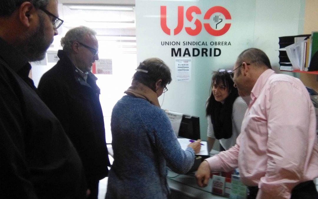 La sede de USO-Madrid se vuelca con el blindaje de las pensiones
