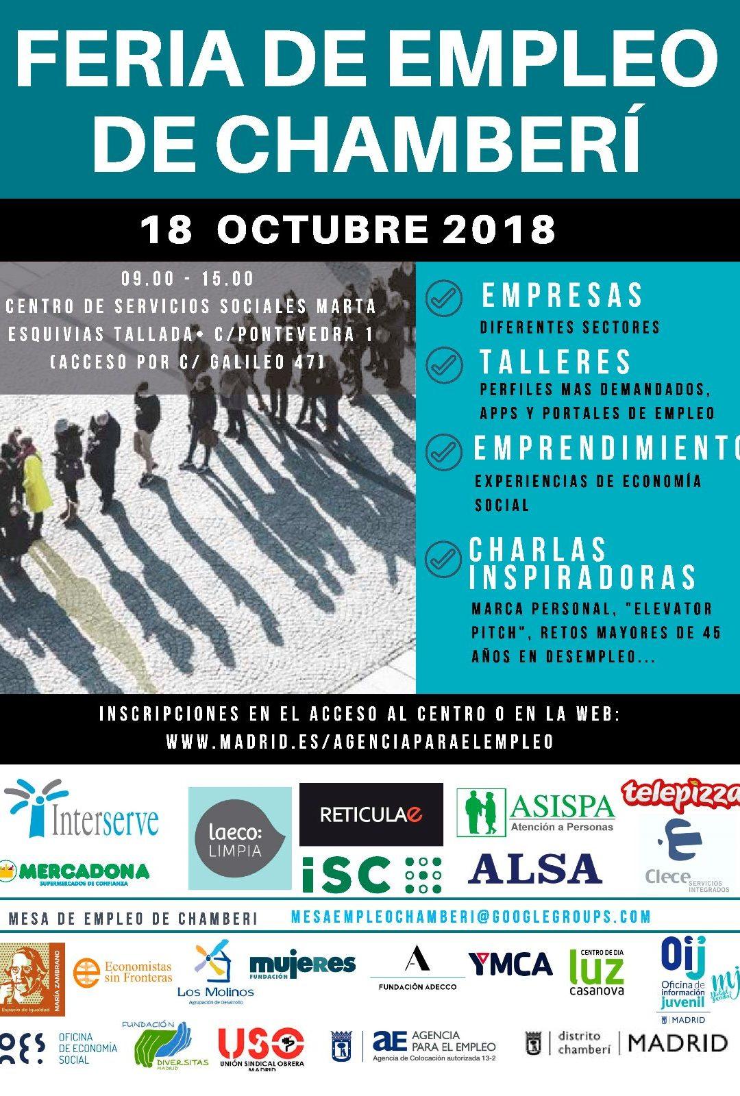 USO-Madrid participa en la I Feria de Empleo de Chamberí del próximo jueves, 18 de octubre