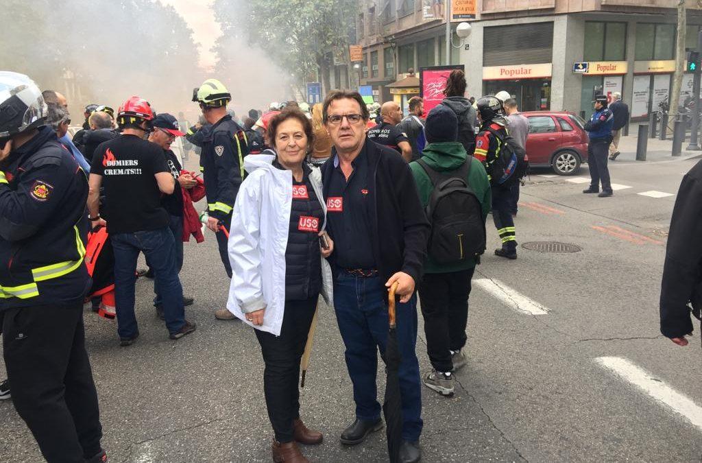 USO-Madrid acude a la manifestación de bomberos para apoyar la regularización de su sector