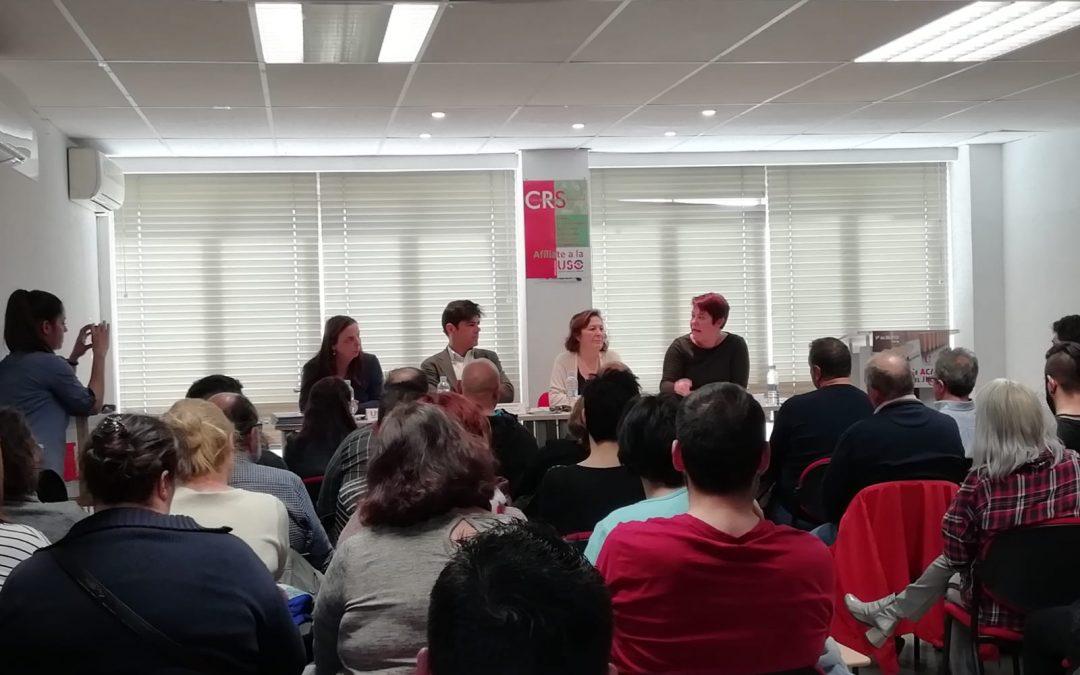 Raquel Bordoy, Joaquín Pérez, Conchi Iniesta y Sara García durante la asamblea de delegados
