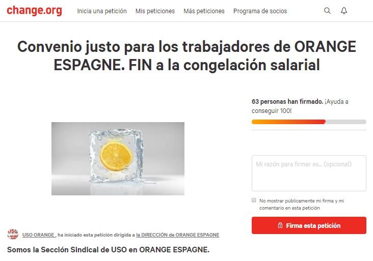 USO Orange lanza una campaña de recogida de firmas por el fin de la congelación salarial