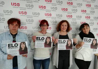 Compañeras de USO-Madrid y la secretaria general, Conchi Iniesta.