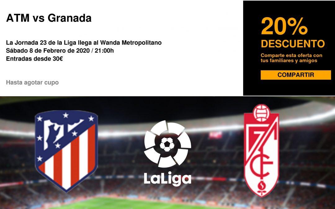 Entradas para el Atlético de Madrid – Granada con un 20% de descuento para afiliados